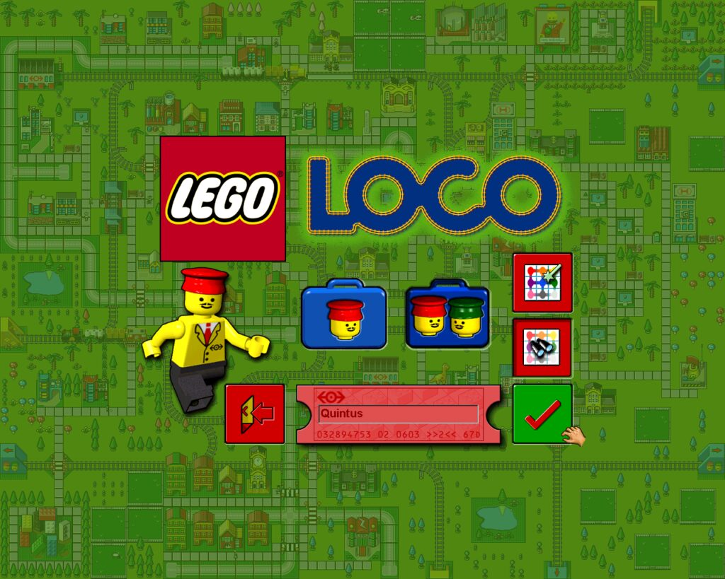 LEGO Loco's main menu screen, shows buttons and a happy background.